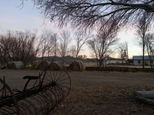 Prescott Arizona Ranch Farm Equipment Trees Bales
