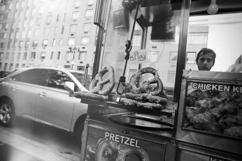 Pretzels Stand Vendor Food Street City Urban