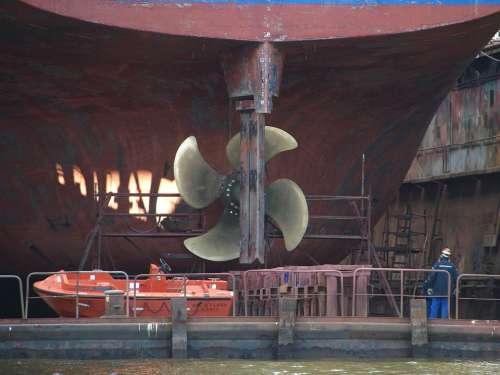 Propeller Hamburg Port Shipyard Dock Floating Dock