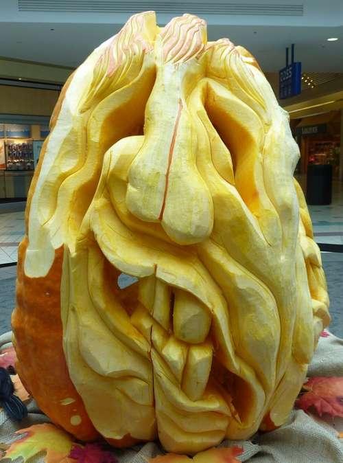 Pumpkin Carved Halloween Face Squash Yellow