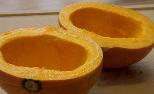 Pumpkin Pumpkin Halves Pulp Cut In Half Food Eat