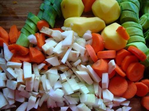 Pumpkin Soup Ingredients Cut Carrots Potatoes