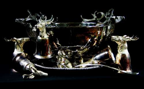 Punch Bowl Ladle Cups Party Stag Tray Set