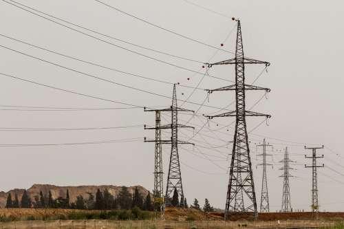 Pylons Electric Electricity Landscape Wires Cables