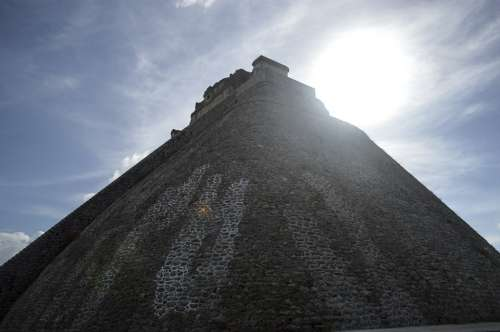 Pyramid Aztec Uxmal Mexico Paradise Sunny Blue
