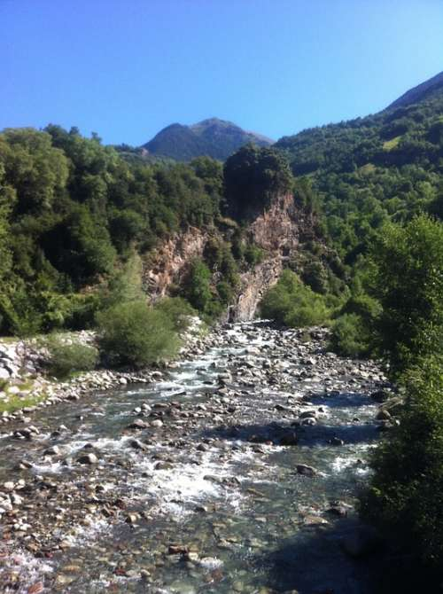 Pyrenees River Nature Landscape Mountains Trees
