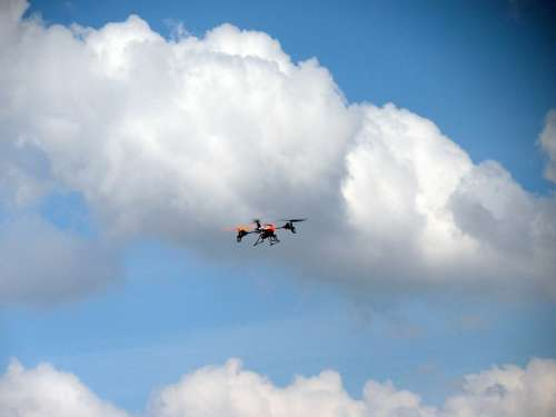 Quadrocopter Drone Remotely Controlled Flying