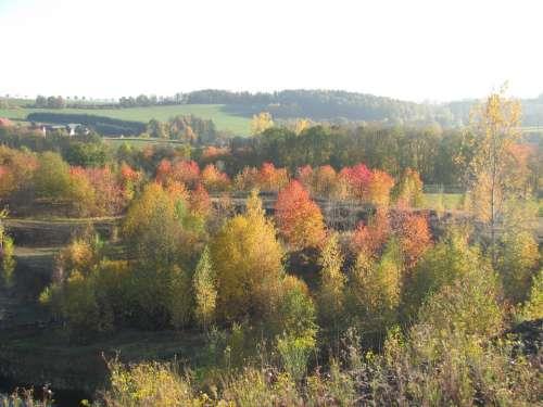 Quarry Landscape Autumn Background Colorful