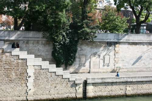 Quay Of The River Seine Paris Steps Ladder