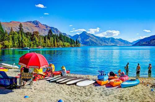 Queenstown Beach New Zealand Lake Mountains Nature