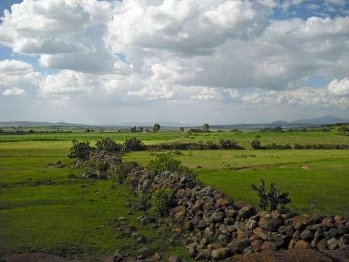 Queretaro Landscape Nature Panorama Scenery Clouds