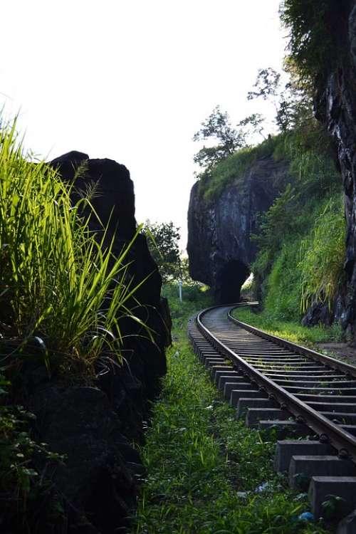 Rail Road Rail Rails Train Transport Path Tunnel