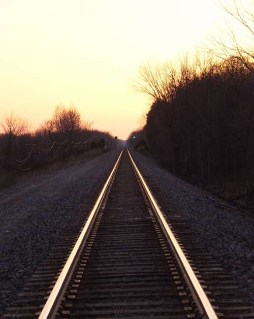 Rail Road Tracks Sunset Railway Transportation