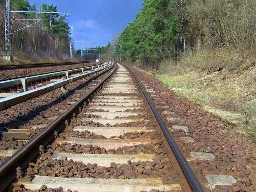 Rail Track Rails Gleise Track Bed Gravel