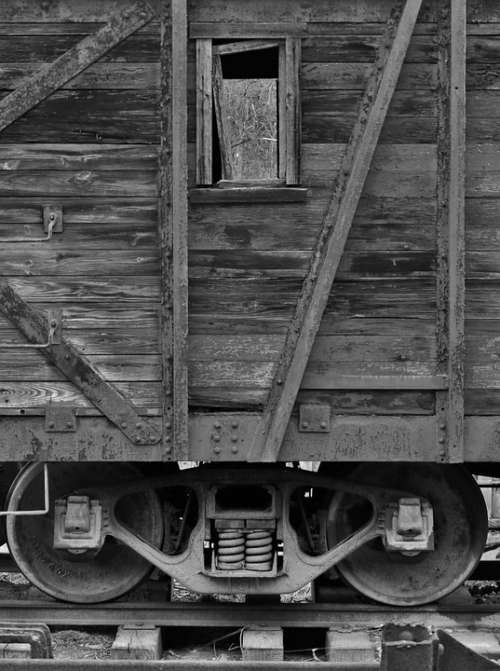 Railroad Rail Train Car Black And White Box