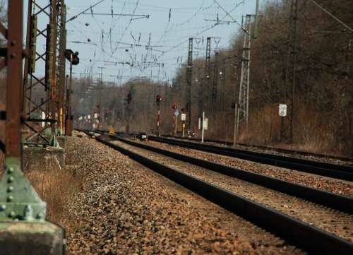 Rails Transport Train Railway Upper Lines Gleise