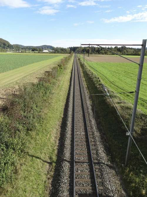 Railway Line Gleise Track Bed Pebble Bed