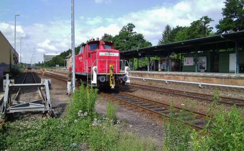 Railway Station Diesellock Rails Track Platform