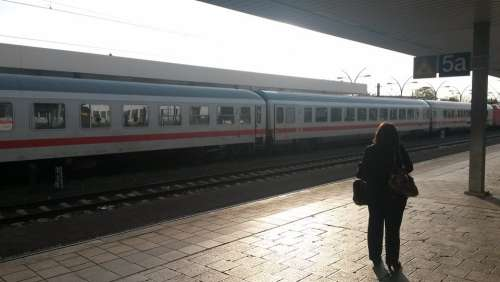 Railway Station Travel Woman Train Heidelberg