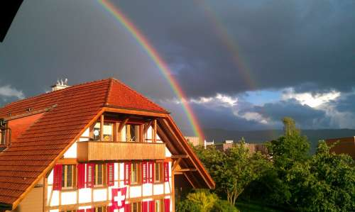 Rainbow Fachwerkhaus Weather Nature Mood Houses