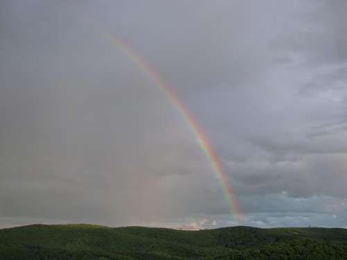 Rainbow Clouds Landscape Rainy Weather Horizon