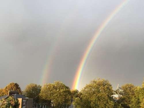 Rainbow Sky Rain Nature Colorful Bright Spectrum