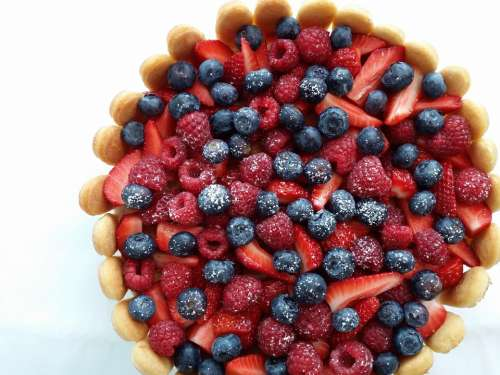 Raspberries Strawberries Cake Delicious Blueberries
