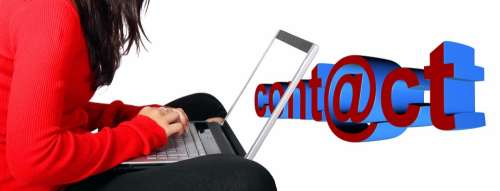 Record Contact Woman Laptop At Mail Email