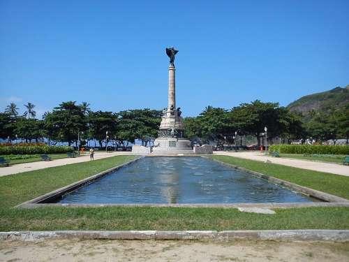 Red Beach Urca Rio De Janeiro Statue Brazil