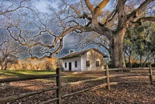 Red Bluff California House Home Adobe Trees Hdr