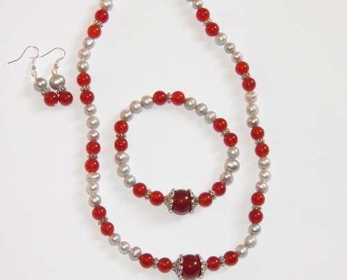 Red Carnelian Necklace Bracelet Jewelry Woman Gem