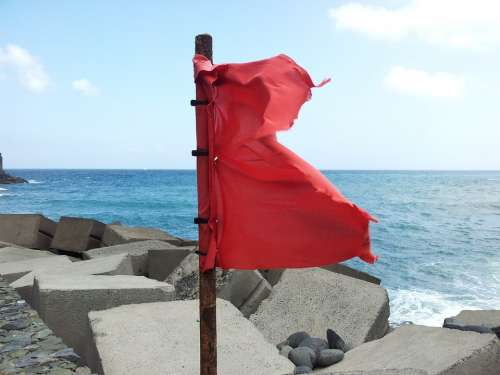 Red Flag Sea Wind Flag Canary Islands