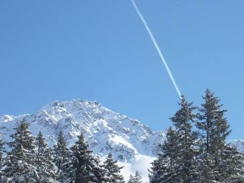 Red Horn Alpine Mountain Switzerland Nature Sky