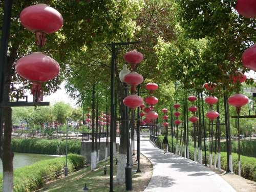 Red Lanterns Fuzimiao Surroundings Gardens Nanjing