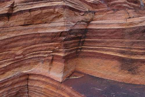 Red Sandstone Layered Eroded Rocks Geology Badami