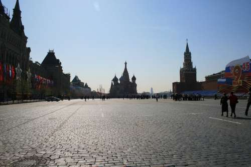 Red Square Paving Open Blue Sky Open Space