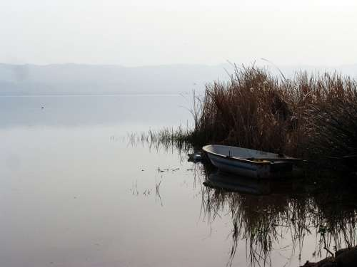 Reeds Lake Iznik Turkey Boat Water Calm Peaceful
