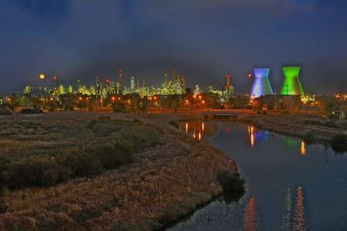 Refineries Haifa Israel Night Power Storage