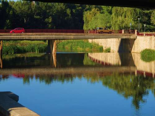 Reflection Water Canal Blue Car Girona Spain