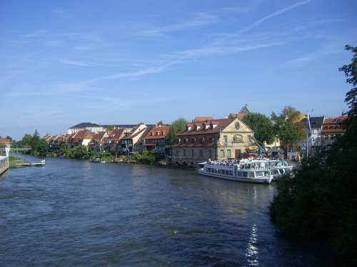 Regnitz River Small Venice Row Of Houses Ship