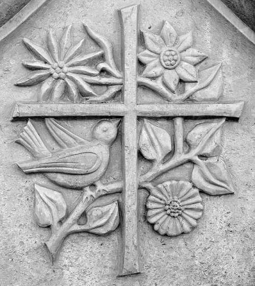 Relief Stone Symbol Nature Gentian Flowers Plant