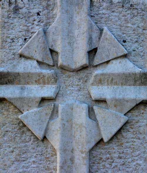 Relief Stone Symbol Cross Rays
