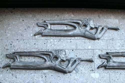 Relief Symbol Angel Trombone Flying Resurrection