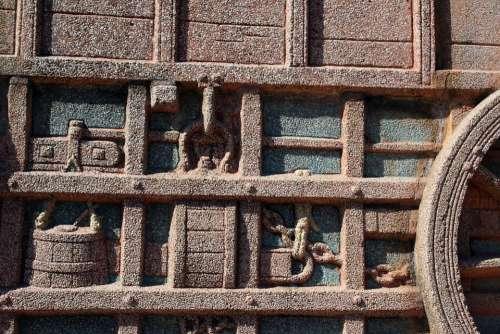 Relief Granite Depiction Wall Sculpting Detail