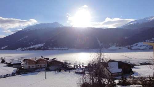 Reschensee Winter Italy Night