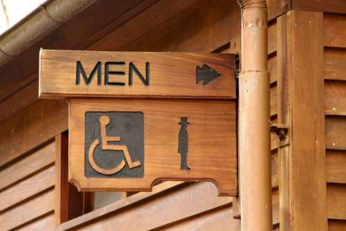 Restroom Public Convenience Wooden Sign Men Point