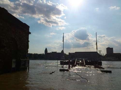 Rhine Koblenz High Water Ehrenbreitstein River