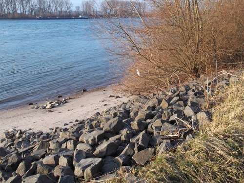 Rhine River Bank Stones Water Waters Germany