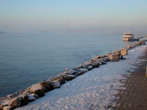 Rhine Rheinbrücke Snow Winter Emmerich Germany