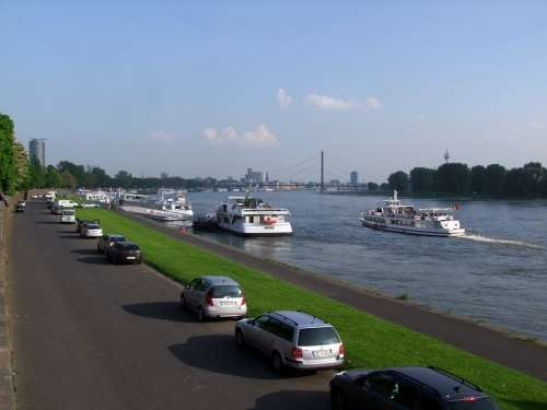 Rhine River Shipping City Düsseldorf Germany